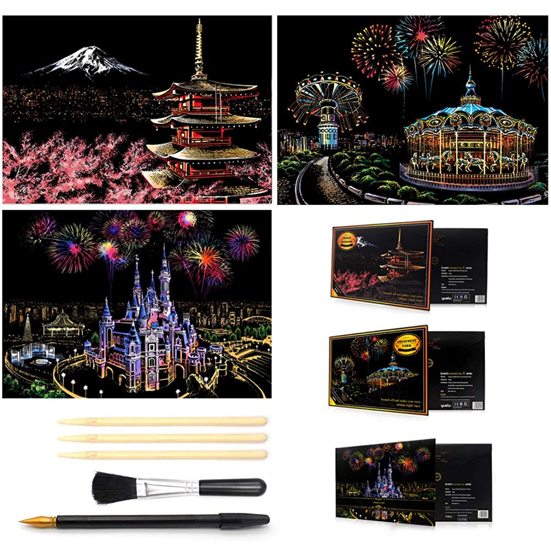 wandeneng Scratch Art Paper Rainbow Painting Sketch Pad DIY Night View Scratchboard for Adults and Kids - 3Packs, 16 X 11.5 Inches (A)