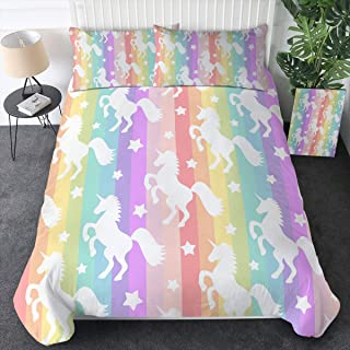 Sleepwish Whimsy Unicorn Gallop Bedding Duvet Cover Sets Pastel Rainbow Stripes Pattern Comforter Cover Magical Horse Bed Set 3 Pieces Kids Unicorn Gifts (Twin)