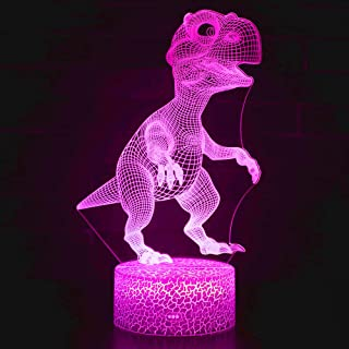 Dinosaur 3D Night Light Optical Illusion Table Lamps 16 Color Changing Desk Lamps,LED 3D Nightlight for Kids Remote Control As A Boys Girls Christmas Gift, Birthday Gift (Dinosaur Two)