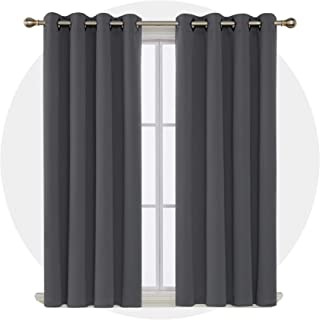 Deconovo Room Darkening Curtains with Grommet Thermal Insulated Blackout Curtains for Bedroom 52W x 63L Inch Dark Grey 2 Panels