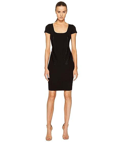 Zac Posen Rib Knit Scoop Neck Short Sleeve Dress