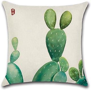 Excelsio Cactus Series - Funda de cojín con diseño de cactus color verde para sofá, cama, salón, dormitorio, como decoración del hogar, tamaño cuadrado, de algodón y lino, mide 45 x 45 cm