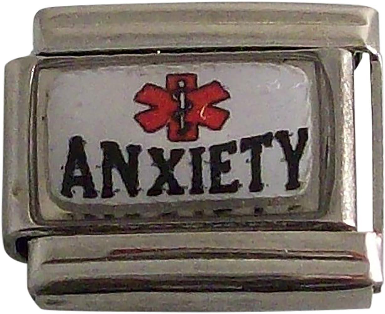 Anxiety Medical Alert ID Italian Charm for Bracelet Men or Women Awareness Stainless Steel