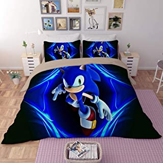 EVDAY Sonic The Hedgehog Game Duvet Cover Set for Kids Cute 3D Cartoon Printed Bed Set Super Soft Microfiber Boys Bedding 3Piece Including 1Duvet Cover,2Pillowcases Full Size