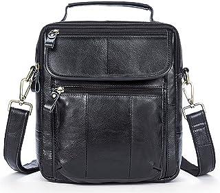 Men's Accessories Vintage Crazy Horse Leather Briefcase Shoulder Satchel Shoulder Handbag for Phone Tablet Power Bank Outdoor Recreation (Color : Black)