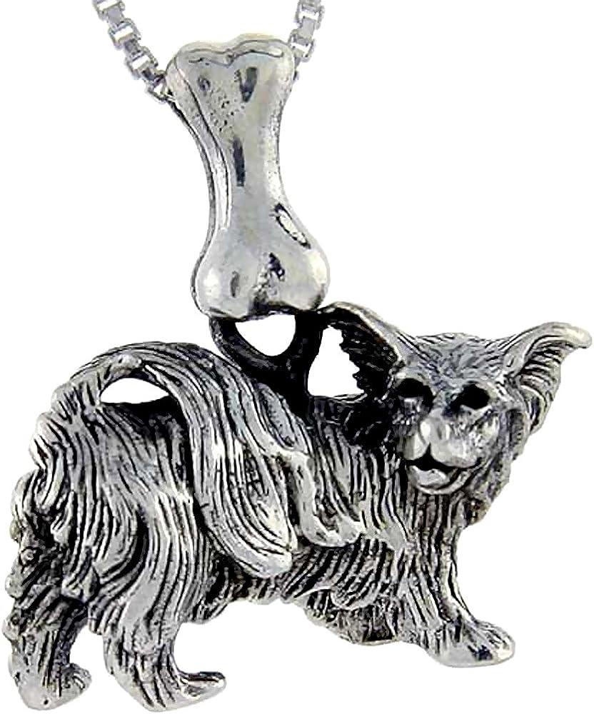 Sterling Silver Daily bargain sale Papillion Dog Many popular brands Pendant