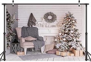 LYWYGG 8X6FT Feliz Navidad Árbol de Navidad Regalo Telón de Fondo de Interior de Suelo de Madera Fotografía de Navidad Foto Telón de Fondo CP-74-0606