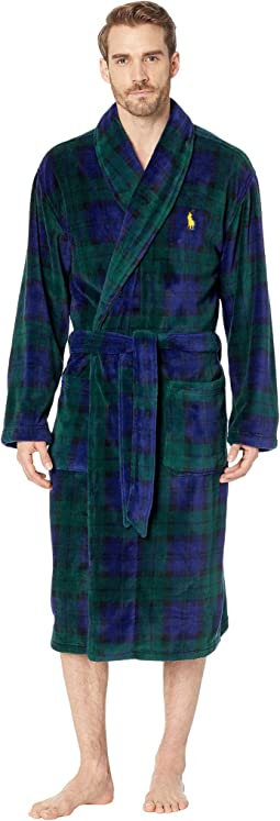 Microfiber Plush Long Sleeve Shawl Collar Robe