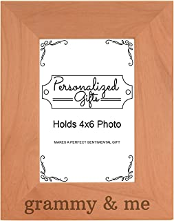 Personalized Gifts Grandma Gift Grammy Me Grandchild Natural Wood Engraved 4x6 Portrait Picture Frame Wood