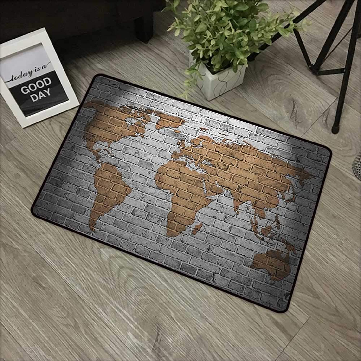 Bathroom Door mat W35 x L59 INCH Wanderlust,World Map on Old Brick Wall Countries Continents Aged Vintage Rough, Pale Grey Pale Brown Easy to Clean, Easy to fold,Non-Slip Door Mat Carpet