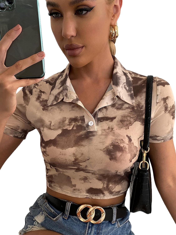 Milumia Women's Tie Dye Collar Half Button Short Sleeve Crop Top Mesh Sheer Polo Shirt