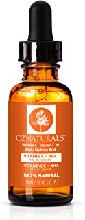 OZ Naturals Vitamin C Serum + AHA For Skin - Anti Aging Anti Wrinkle Serum Combines Potent Vitamin C with Natural Alpha Hydroxy Acids Which Deliver The Youthful Glow You've Been Looking For! (Std)