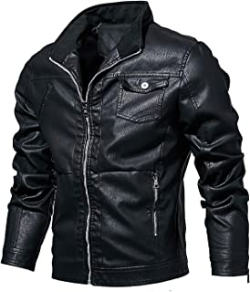 X&Armanis Men's zip leather jacket, thin section collar single layer leather jacket casual locomotive pu leather jacket