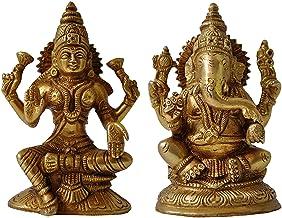 Goddess Lakshmi and Ganesha Brass Statue Hindu Lord Religious Temple Worship Idol Figure for Pooja Laxmi Ganesh