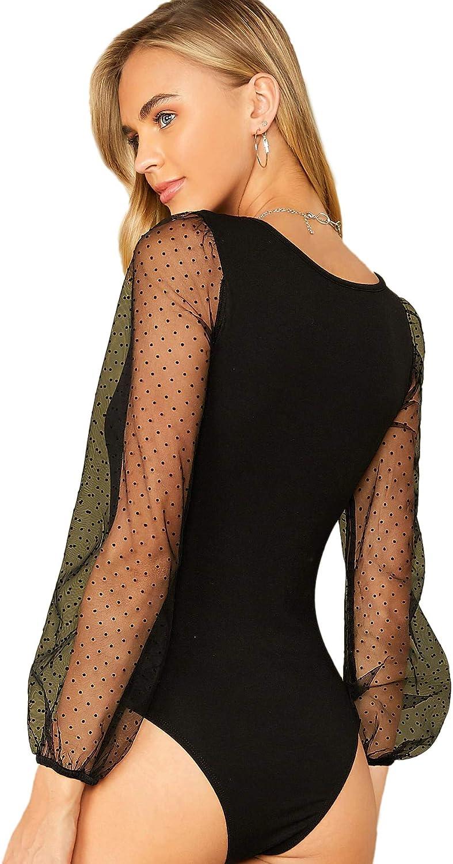 WDIRARA Womens Polka Dot Sheer Dobby Mesh Square Neck Long Sleeve Skinny Bodysuit