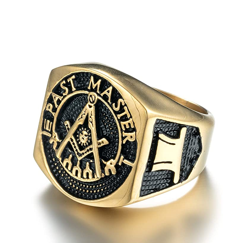 ZMY Fashion Stainless Steel Jewelry Rings, Gold Titanium Master Masonic Ring for Men