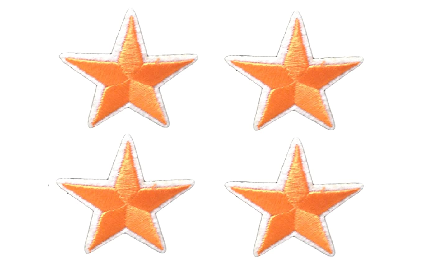 4 small pieces ORANGE STAR Iron On Patch Applique Motif Fabric Children Decal 1.5 x 1.5 inches (3.8 x 3.8 cm)