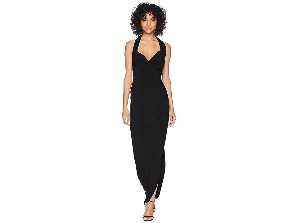 KAMALIKULTURE by Norma Kamali Halter Sweetheart Side Drape Gown (Black) Women