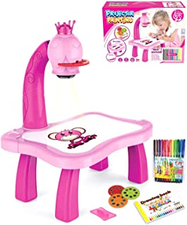 Child Learning Desk with Smart Projector Projector Learning/Drawing Painting Set with Light &Music  Educational Projection...