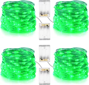 Mankinlu 4 Pack Green St Patrick's Day String Lights Battery Powered, 16.5Ft/5m 50 LEDs Green Fairy Lights for St.Patrick's Day Decorations Irish Party Christmas Halloween Decor(Set of 4,Green)