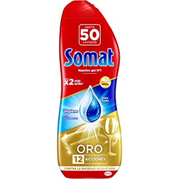 Somat Oro Gel, Lavavajillas Antigrasa para 50 Lavados, 1000 ml, 5 ...