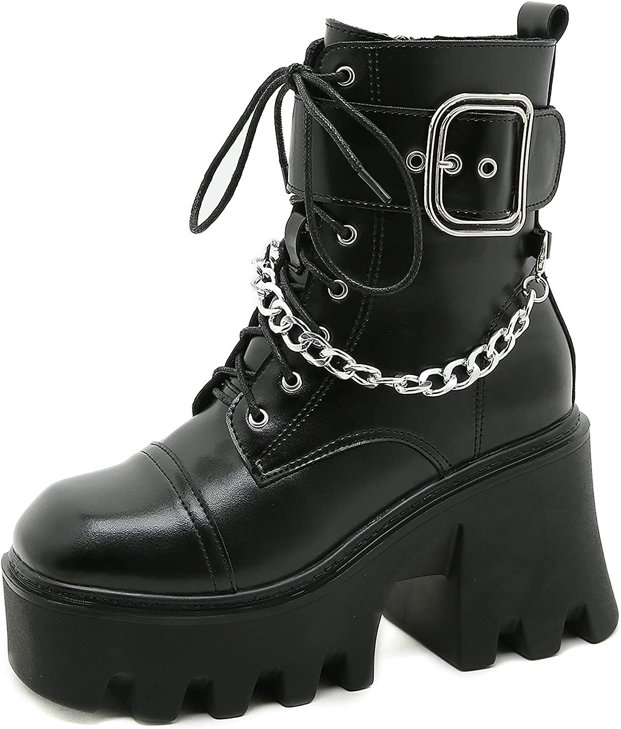 femflame Black Platform Boots For Women Punk Goth Ankle Boots Square Toe Military and Tactical Boots Outdoor Combat Boots Motorcycle Boots