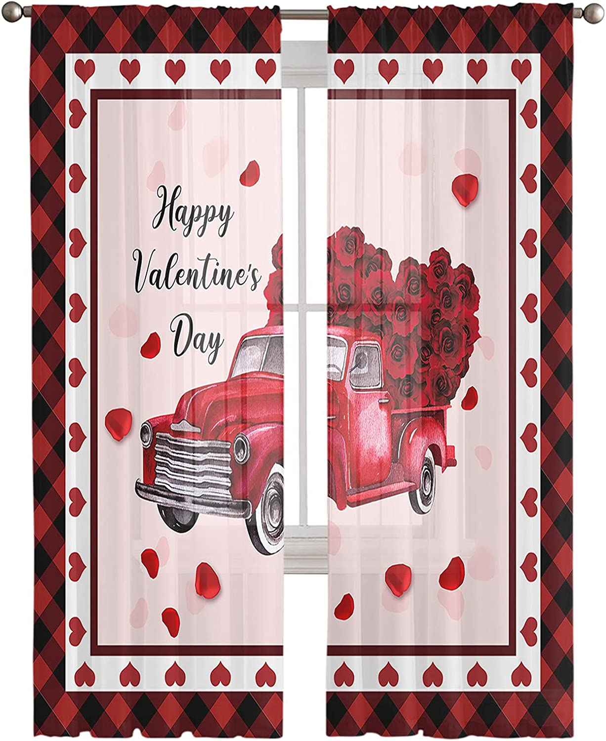 Semi Charlotte Mall Sheer Window Limited price sale Curtain for Room Bedroom Valentin Happy Living