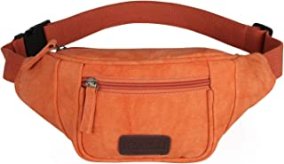 Fashion Fanny Pack for Women Casual Canvas Waist Packs Travel Sports Running Belt Bag with Adjustable Strap (Orange)