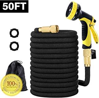 SANXIA 2019 Strongest Upgrade 50FT Garden Hose Pure Natural Latex Expandable Garden Hose with 10 Pattern Nozzle Water Hose Leak Free Brass Connector Lightweight Shrink Water Hose.