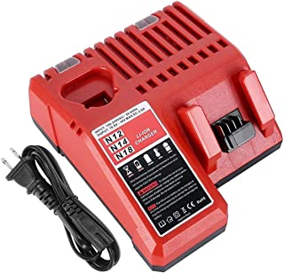 Gooality 12V-18V Battery Charger 48-59-1812 Replacement for Milwaukee M12 M14 M18 Lithium Battery 48-11-2420 48-11-2440 48-11-1820 48-11-1840 48-11-1850 48-11-2401 48-11-1890
