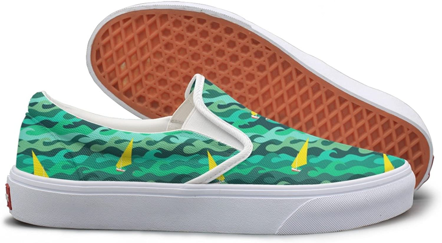 Made Of Sea Waves And Yachts Womens Slip On Canvas shoes