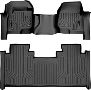 SMARTLINER Custom Floor Mats 2 Row Liner Set Black for 2017-2020 Ford F-250/F-350 Super Duty SuperCab with 1st Row Bench Seat