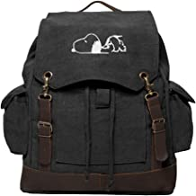 Snoopy Laying Flat Vintage Canvas Rucksack Backpack with Leather Straps