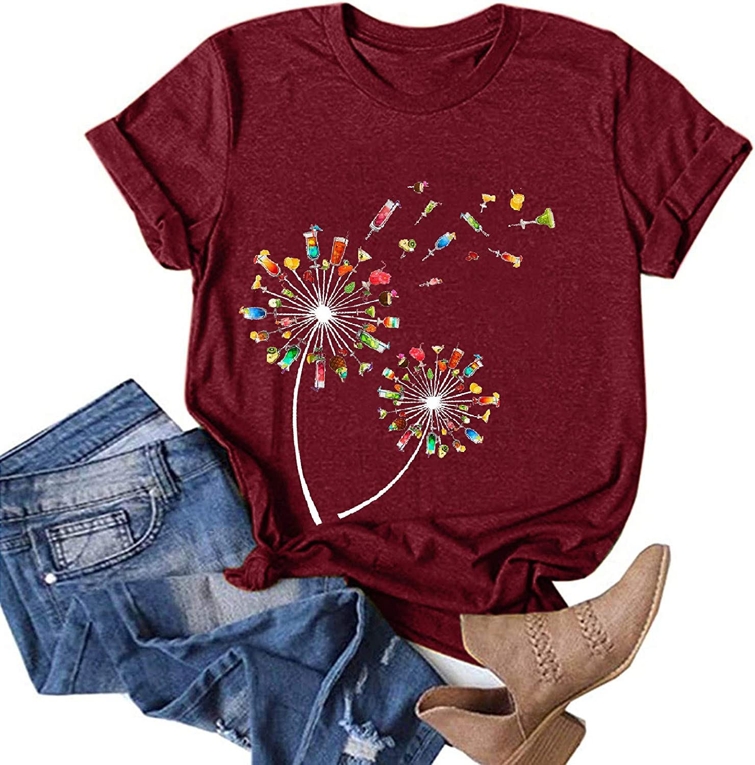 Aukbays Womens Plus Size Tops Dandelion Graphic Vintage Tees Shirts Round Neck Short Sleeve Casual T-Shirt Blouses Tunic