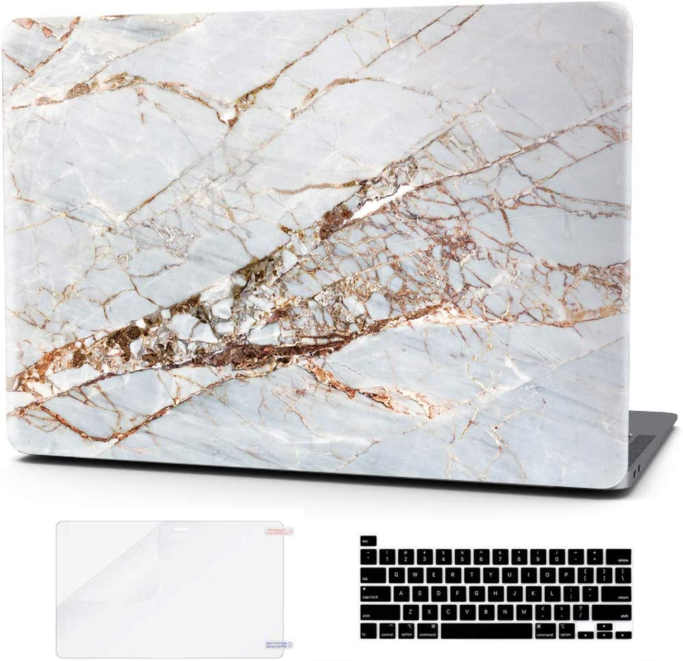 Laptop Case for MacBook Pro 16 Inch Keyboard Cover Plastic Hard Shell Touch Bar 3 in 1 Bundle with Screen Protector for Mac Pro 16 /' ,Gold Slash Marble A2141