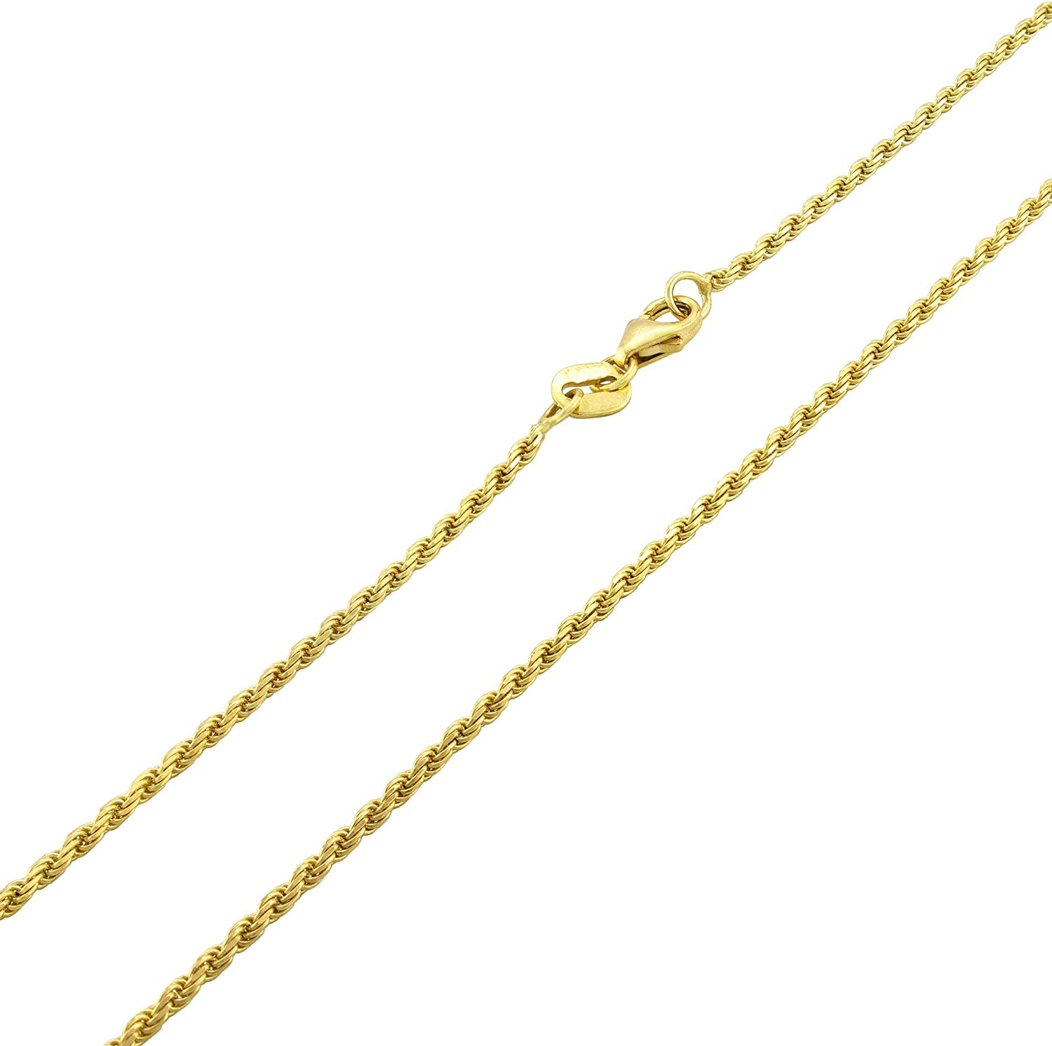Nuragold 14k Yellow Gold 1.5mm Solid Rope Chain Diamond Cut Pendant Necklace, Mens Womens Lobster Lock 16
