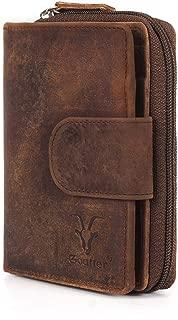 Goatter Men's Hunter Leather RFID Blocking Wallet (Brown)