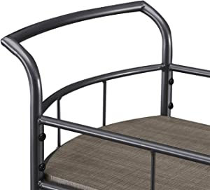 HOMYSHOPY Rolling Bar Cart with Wine Rack and Storage, 2-Tier Oval Metal Serving Carts on Wheels for The Home Kitchen Dinning Room, Gray Finish