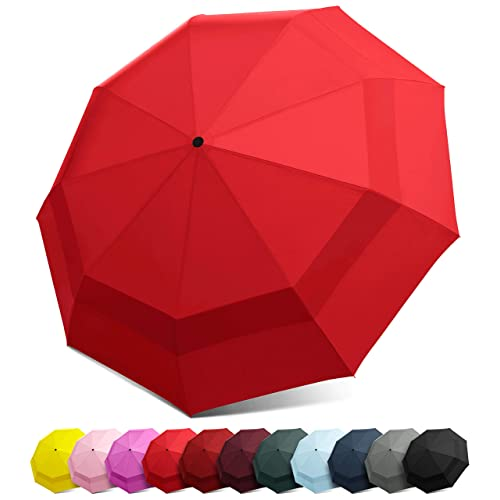 d9e63ccbd76a2 EEZ-Y Compact Travel Umbrella w/Windproof Double Canopy Construction - Auto  Open/