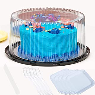 """12"""" Plastic Cake Container with Disposable Cutlery and Cake Boards, Cake Holder with Lid is for 2 layer cakes, 5 Pack of each"""