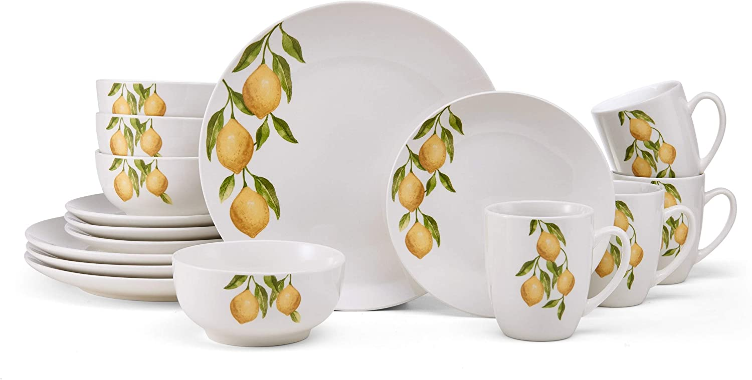 National uniform free shipping Unknown1 Country Lemon 16pc Dinnerware R Fruit 2021 spring and summer new Set Yellow Casual