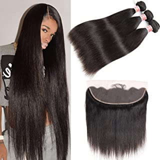 Pizazz 8A Brazilian Straight Hair Bundles with Frontal (16 18 20+14) Double Weft Remy Human Hair 3 Bundles with Frontal Closure 13x4 Lace Frontal Closure with Bundles