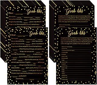 Supla 25 Sets Graduation Cards Game Cards Grad Libs Party Game Cards Graduation Advice Game Cards Black and Gold Foil Design for College Graduation Celebration Party Open House Activity