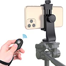 Universal Phone Tripod Mount Adapter with Bluetooth Camera Remote, Cell Phone Holder with Adjustable Clamp for Selfie Stick Monopod Compatible with iPhone, Samsung and so on, Wrist Strap Included