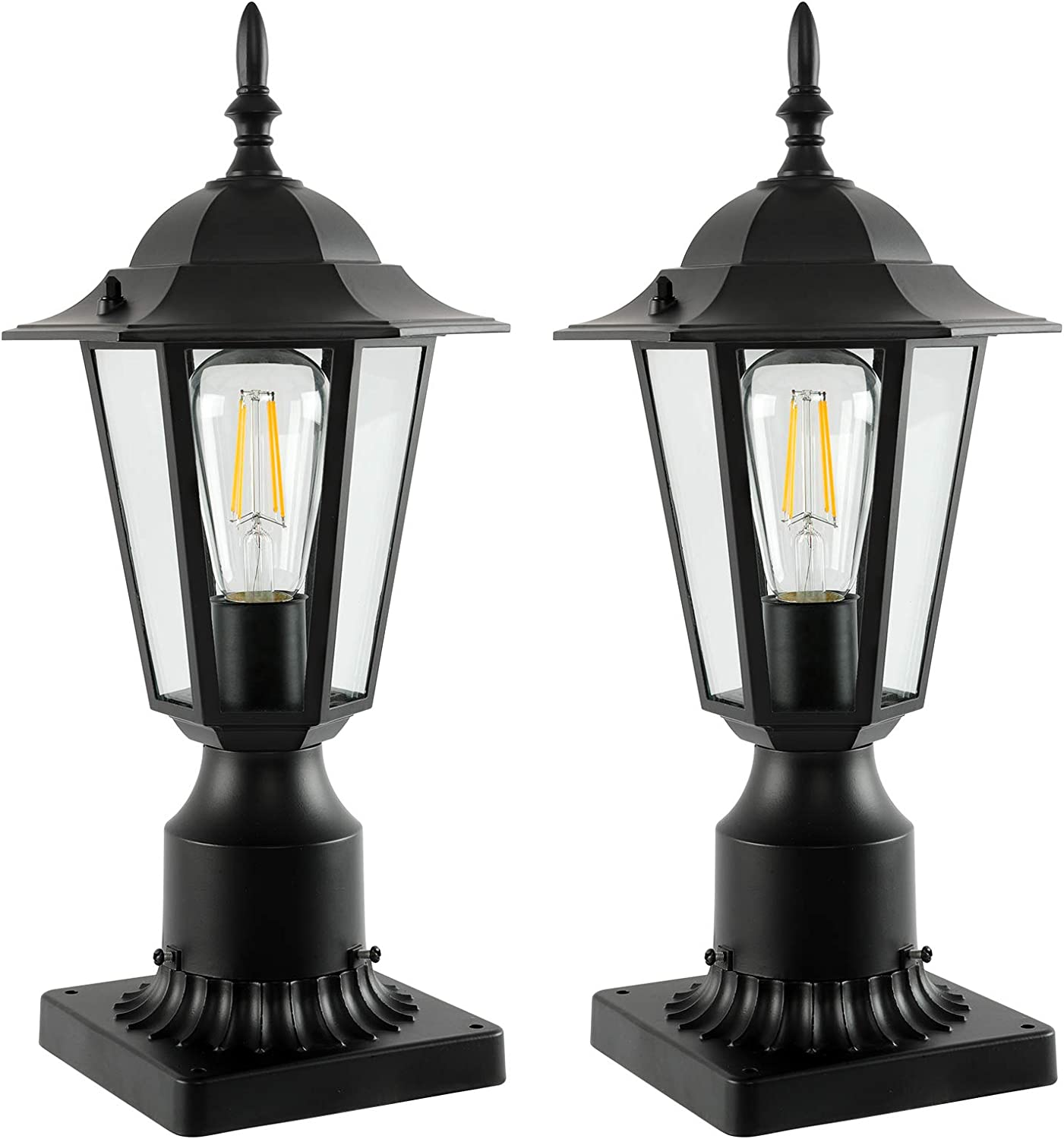 FAGUANGAO Quantity limited Outdoor Post Light Fixtures with Mount Max 40% OFF Pier Black Base