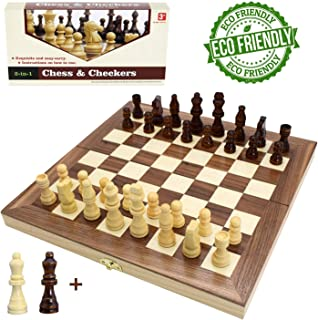"""Wooden Chess Set for Kids and Adults, Folding Chess Board Travel Chess and Checkers Set Game Board Interior for Storage - 2 Extra Queens ( 12"""" x 12"""" )"""