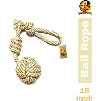 Foodie Puppies Cotton Rope Dog Chew Toy 15 Inches with 2 Knots and Contrast Color Cotton Ball - (Color May Vary)