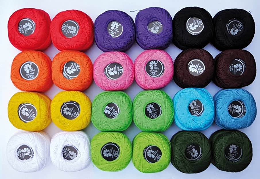 CRAZY CAJUN. Playbox 24 x 20g Knitting Yarn in 12 Colours (24 Pieces)