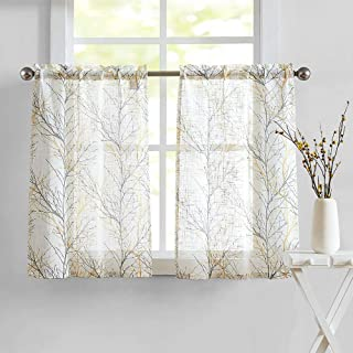 White Kitchen Tier Curtains for Windows Grey/Yellow Café Curtains Tree Branch Print 36