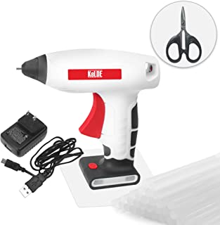 """KeLDE Cordless Hot Glue Gun Kit, 30 Seconds Heating Time 3.7V Li-ion Battery Rechargeable Glue Gun, with USB Cable and Plug, Fine Tip Nozzle, Includes 20pcs 0.6x0.28"""" Hot Glue Sticks, UL Certified"""